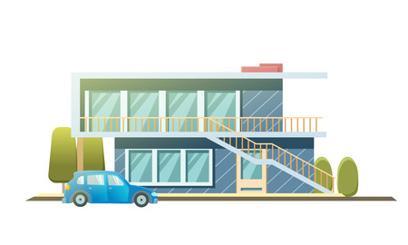 Facade apartment house, cottage. flat style background of trees, car. Architecture cottage building. Suburban house with car. Flat style vector illustration isolated