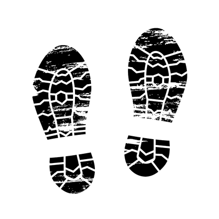 Footprints and shoeprints icon in black and white showing bare feet and the imprint of the soles with patterns of male and female footwear. Shoes boots imprint Illustration