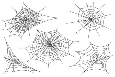 Web spider cobweb icons set. Outline illustration of web spider cobweb vector icons for web Stock Vector - 110861980