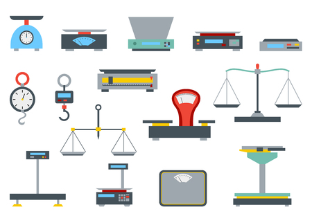 Flat store weigher. Collection of electronic and mechanical scales for shop. Business sale objects. Measurement of grocery products. Isolated on white vector illustration. Vektorové ilustrace