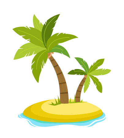 Tropical palm on island with sea waves vector illustration isolated white background. Beach under palm tree. Summer vacation in tropics. Cartoon vector illustration.