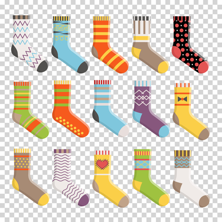 Flat design colorful socks set vector illustration