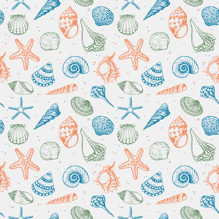 Hand drawn vector illustrations - seamless pattern of seashells. Marine background. Perfect for invitations, greeting cards, posters, prints, banners, flyers etc Stock Photo
