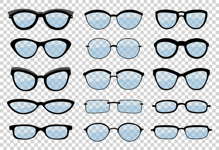 A set of glasses isolated. Vector glasses model icons. Sunglasses, glasses, isolated on white background. Silhouettes. Various shapes - stock illustration. Ilustrace