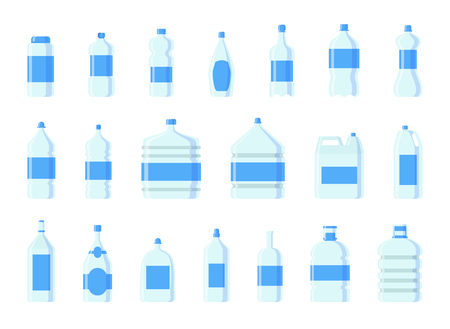 Plastic water bottle vector blank nature blue clean liquid aqua fluid blank template silhouette template illustration. Bottles set.
