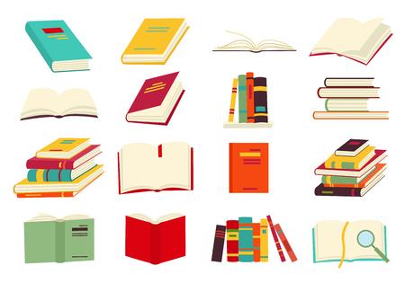 Icônes de vecteur de livres dans un style design plat. Livres en pile, ouverts, en groupe, fermés, sur l'étagère. Lire, apprendre et recevoir une éducation à travers les livres.