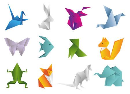 Zestaw zwierząt origami. Geometryczne wielokątne bajki.