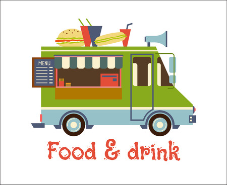 Fast Food Trailer with burger Isolated on white. Street food car, mobile kitchen, restaurant
