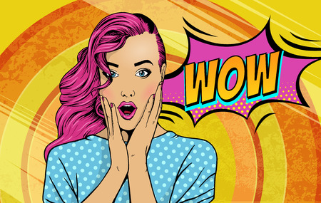 Wow pop art face. Sexy surprised woman with pink hair and open mouth with inscription wow in reflection. Vector colorful background in pop art retro comic style.