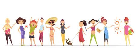 Ensemble de femmes enceintes. De nombreuses vues des enceintes. Sourire heureux, marcher avec un chien, manger des pommes, faire de l'exercice, peindre, maillot de bain. Illustrations vectorielles isolées Vecteurs