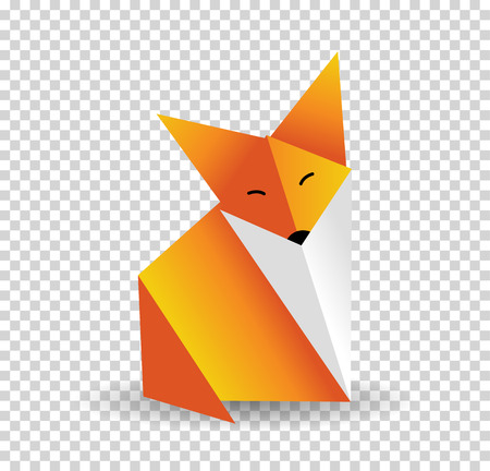 Origami fox vector. Orange, foxy and white color.
