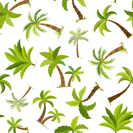 Palm trees seamless background. Beautiful vector palma tree textile vector illustration. Banco de Imagens - 114496353