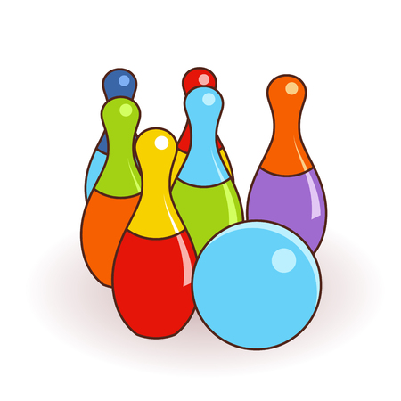 Bowling pins and one ball illustration isolated with clean flat design. Kids toys illustration