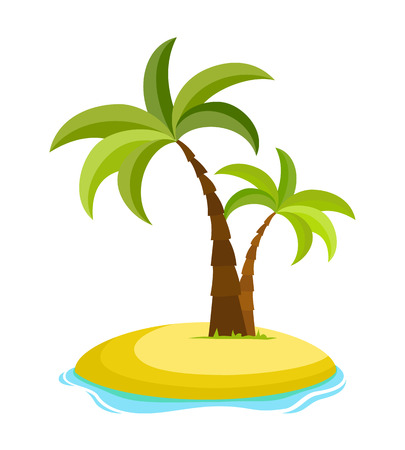 Tropical palm on island with sea waves vector illustration isolated white background. Beach under palm tree. Summer vacation in tropics. Cartoon vector illustration. Ilustração