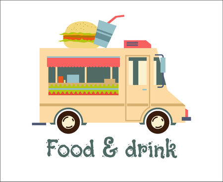 Fast Food Trailer with burger Isolated on white. Street food car, mobile kitchen, restaurant. Illustration