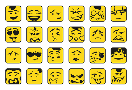 Smiles. Set of emoticons or emoji illustration line icons. Smile icons line art isolated vector illustration on yellow background. Concept for messengers