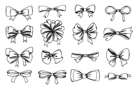 Vector hand drawn collection of lush bows and confetti. Vintage decoration for traditional holidays and gift boxes. Concept illustration