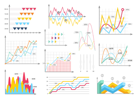 Infographic charts elements - bar and line charts, percents, pie charts, steps, options, timeline, people infographics, vector eps10 illustration
