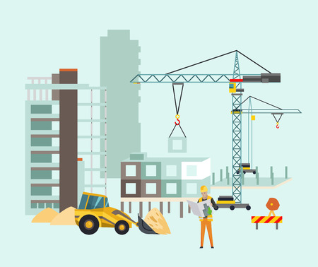 Builders on the construction site. Building work process with houses and construction machines. Vector illustration with people