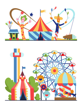 Amusement park, urban landscape with carousels, roller coaster and air balloon. Circus, Fun fair and Carnival theme vector illustration Ilustração