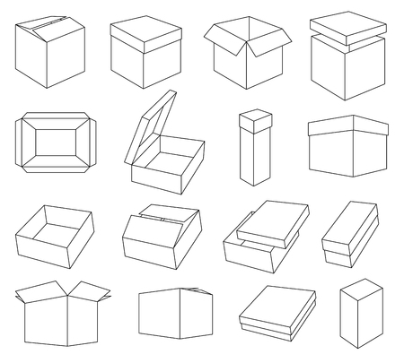 Simple set of box and crates related vector icons for your design. Coloring isometric boxes Ilustração