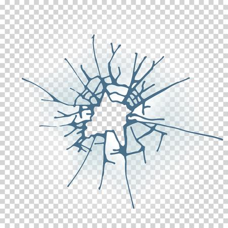 Broken window glass. Realistic daylight design vector illustration. Stock Photo