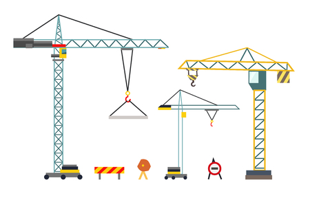 Construction crane. Building equipment in flat style. Vector illustration isolated on white background Ilustração