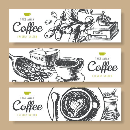 Coffee beans, roasted coffee, background ink hand drawn vector banners. Fresh turkish coffee