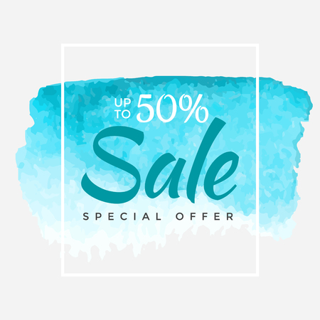 Watercolor Special Offer, Super Sale Flyer, Banner, Poster, Pamphlet, Saving Up to 50% Off, Vector illustration with abstract paint stroke.