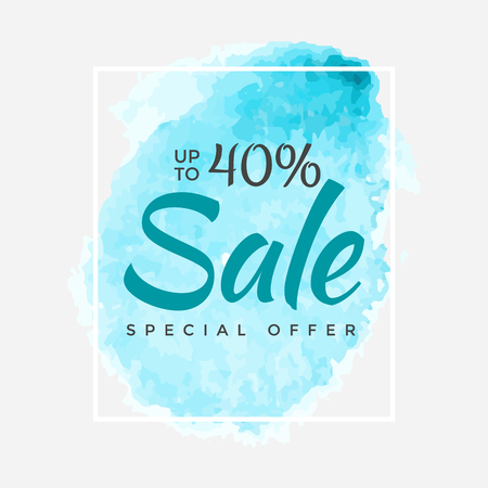 Watercolor Special Offer, Super Sale Flyer, Banner, Poster, Pamphlet, Saving Up to 40% Off, Vector illustration with abstract paint stroke. Ilustração