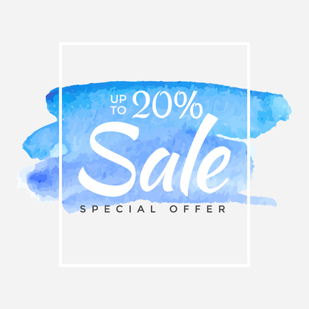 Watercolor Special Offer, Super Sale Flyer, Banner, Poster, Pamphlet, Saving Up to 20% Off, Vector illustration with abstract paint stroke.