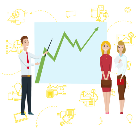 Business Man Standing Pointing to Diagram Chart on Whiteboard. Businesswomen Cartoon Character Shows Strategy Plan or Report on Flipchart. Flat Vector Illustration Ilustração