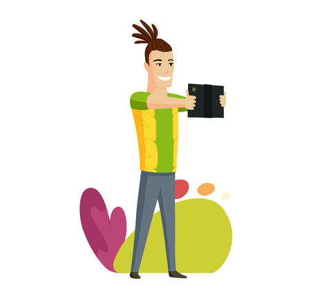 Hawaiian men with tablet. Vector colorful illustration of communication via the Internet, social networking, chat, video, news, messages, web site, search friends, mobile web graphics