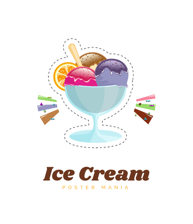 Ice cream, vector illustration. Color poster or menu illustration