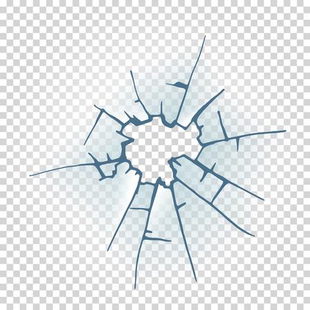Broken window glass. Realistic daylight design vector illustration. Ilustrace