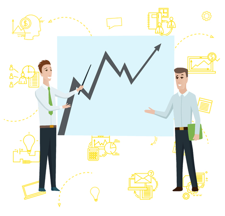 Business Man Standing Pointing to Diagram Chart on Whiteboard. Businessman Cartoon Character Shows Strategy Plan or Report on Flipchart. Flat Vector Illustration