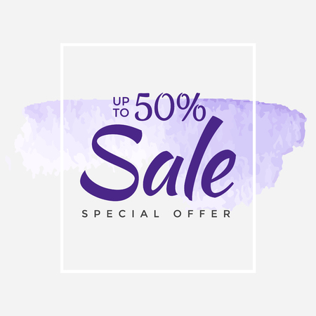 Sale final up to 50% off sign over art brush acrylic stroke paint abstract texture background poster vector illustration. Perfect watercolor design for a shop and sale banners.