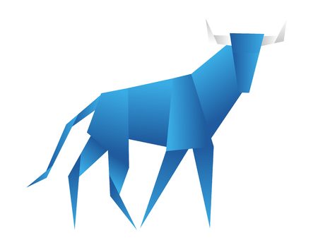 Young bull origami abstract isolated on a white backgrounds.