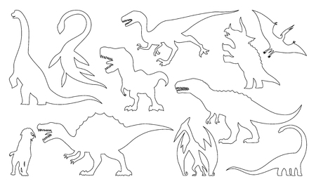 Dinosaur silhouettes coloring set. Vector illustration isolated on white Vectores