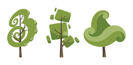 Decorative trees icon set. Flat trees in a flat design. Isolated on white. Vector icons