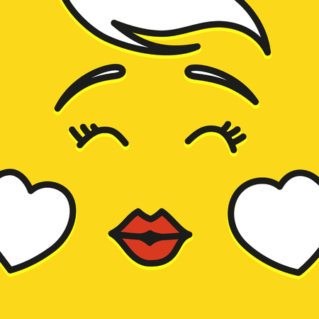 Smile icon template design. In love emoticon vector logo on yellow background. Face line art style. Shows a tongue.