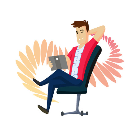 A man is talking by messenger by laptop sitting on the chair. Video messenger. Man make sephi. Live Stream