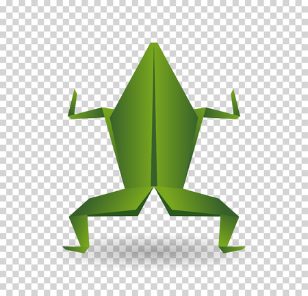 Frog origami abstract isolated on a white backgrounds.