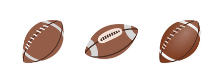 American Football ball isolated on a white background. Realistic Vector Illustration. Rugby sport  イラスト・ベクター素材