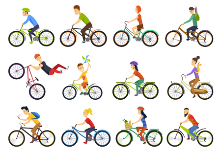 Group of tiny people riding bikes on city. Bike types and cycling sign set. Man, woman, kids. Thin line art icons. Flat style illustrations isolated on white. - Vector