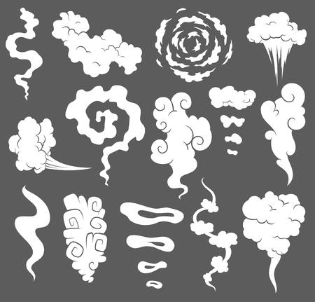 Mauvaise odeur. Nuages de fumée. Des nuages de fumée de vapeur de cigarettes ou des icônes de dessin animé de cuisson de vecteur de nourriture ancienne expirée. Illustration de vapeur d'odeur, arôme de nuage. Vecteurs