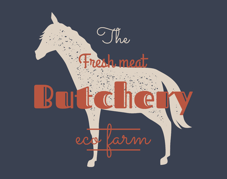 Organic Farm Butchery Abstract Vector Sign, Symbol or Logo Template. Hand Drawn Horse Sillhouette with Retro Typography. Vintage Badge or Emblem.
