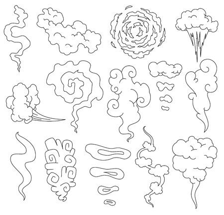 Mal olor. Nubes de línea de humo. Nubes de humo de vapor de cigarrillos o iconos de dibujos animados de cocina de vector de comida antigua caducada. Ilustración de vapor de olor, aroma de nube.