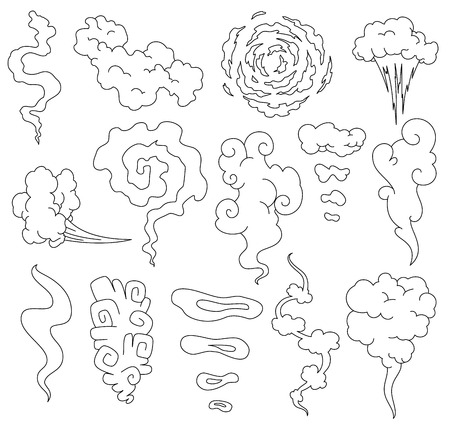 Bad smell. Smoke line clouds. Steam smoke clouds of cigarettes or expired old food vector cooking cartoon icons. Illustration of smell vapor, cloud aroma.