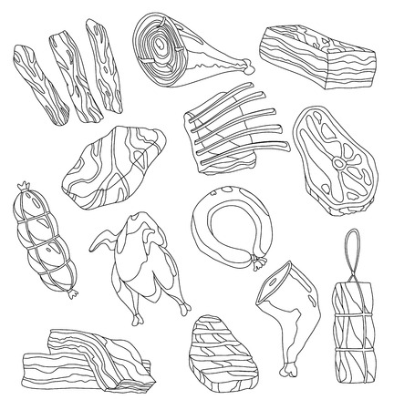 Fresh meat coloring illustration set. Clorful set of appetizing meat products. Hand-drawn illustration - Vector